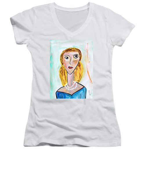 Double Strand Women's V-Neck T-Shirt (Junior Cut) by Mary Carol Williams