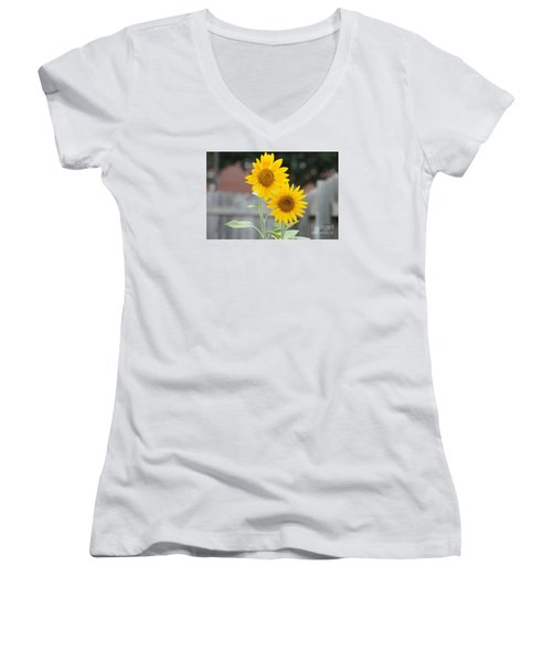 Double Sunflowers Women's V-Neck (Athletic Fit)
