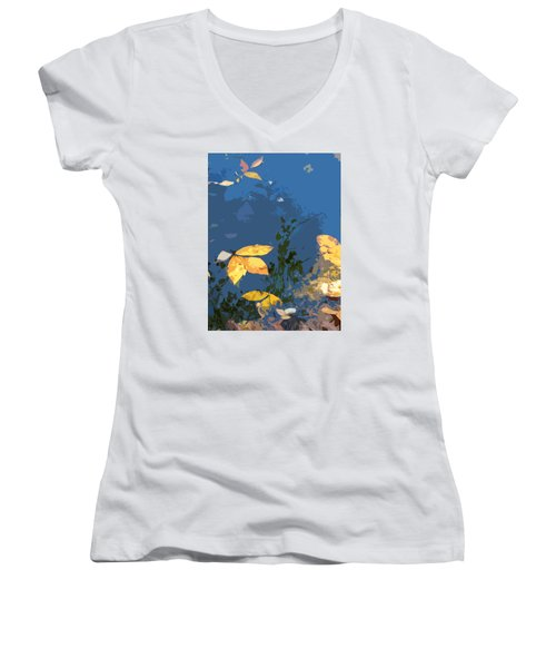 Women's V-Neck T-Shirt (Junior Cut) featuring the photograph Double Trinity by Spyder Webb