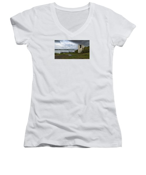 Women's V-Neck T-Shirt (Junior Cut) featuring the photograph Down By The River 01 by Kevin Chippindall