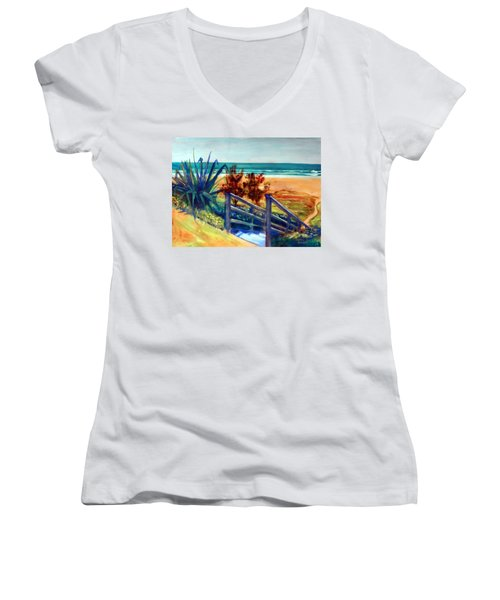 Down The Stairs To The Beach Women's V-Neck T-Shirt (Junior Cut) by Winsome Gunning