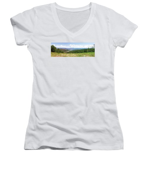 Women's V-Neck T-Shirt (Junior Cut) featuring the photograph Down The Valley At Snowmass #2 by Jerry Battle