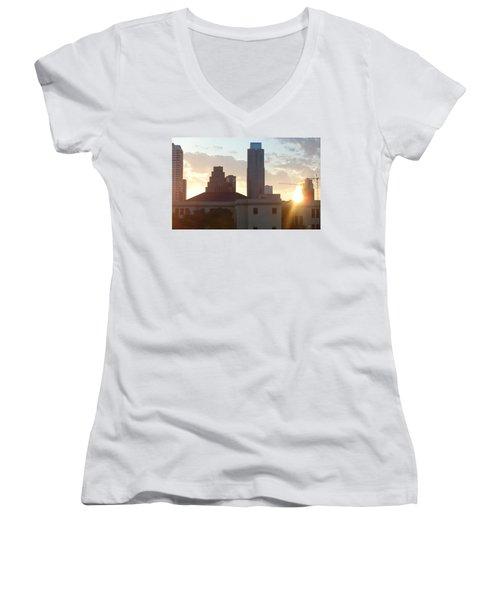 Downtown Austin Women's V-Neck T-Shirt (Junior Cut) by Karen J Shine