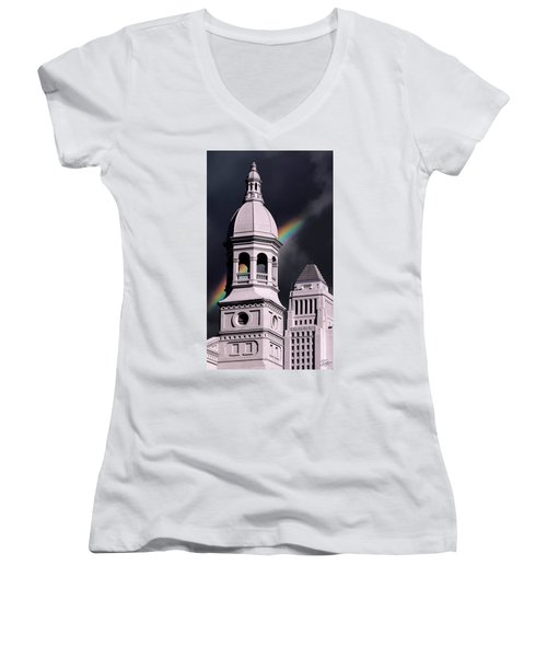 Downtown Buildings Women's V-Neck (Athletic Fit)