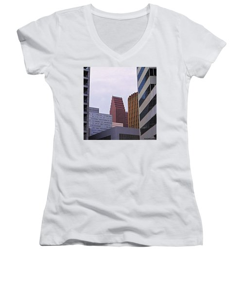 #downtown #houston On A Gloomy Cold Women's V-Neck