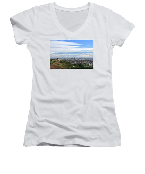 Downtown Los Angeles Women's V-Neck (Athletic Fit)