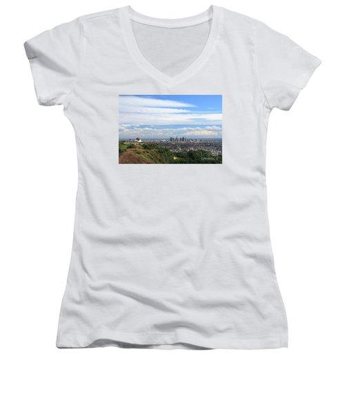 Downtown Los Angeles Women's V-Neck T-Shirt (Junior Cut)