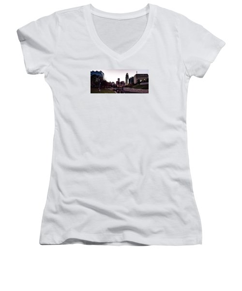 Downtown Omaha At Sunset Women's V-Neck