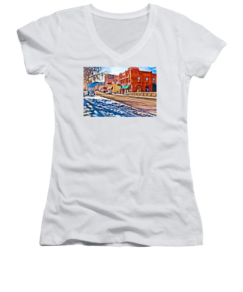 Downtown Salida Hotels Women's V-Neck (Athletic Fit)