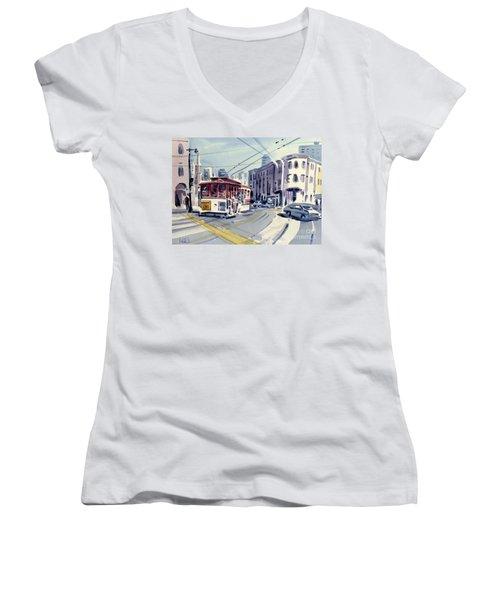 Downtown San Francisco Women's V-Neck T-Shirt (Junior Cut) by Donald Maier