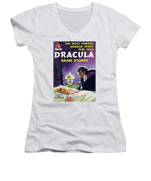 Women's V-Neck T-Shirt (Junior Cut) featuring the painting Dracula by Unknown Artist