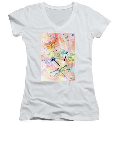 Women's V-Neck T-Shirt featuring the painting Dragon Diversity by Denise Tomasura