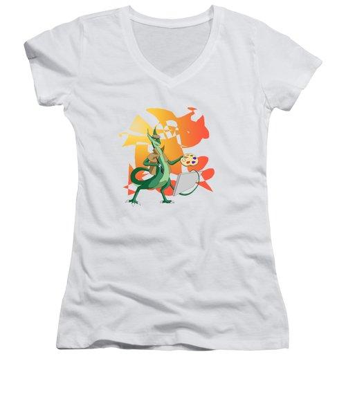 Dragon Painter Women's V-Neck (Athletic Fit)
