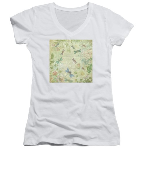 Dragonfly Dream Women's V-Neck T-Shirt (Junior Cut) by Peggy Collins