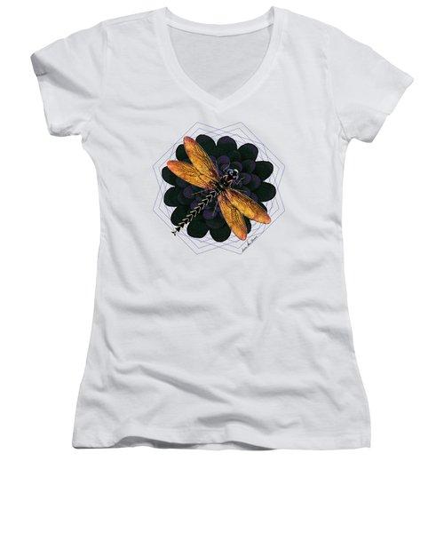 Women's V-Neck T-Shirt (Junior Cut) featuring the digital art Dragonfly Snookum by Iowan Stone-Flowers