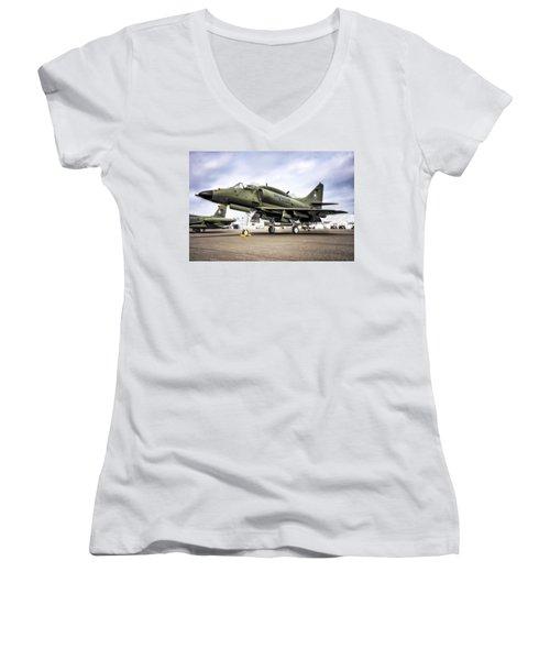 Douglas A-4m Skyhawk II Women's V-Neck T-Shirt (Junior Cut)