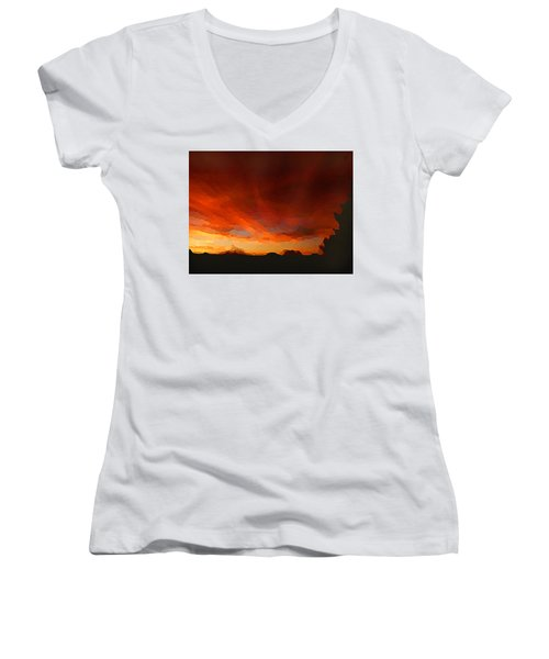Women's V-Neck featuring the digital art Drama At Sunrise by Shelli Fitzpatrick