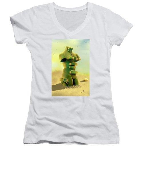 Drawers 2 Women's V-Neck T-Shirt (Junior Cut) by Mike McGlothlen