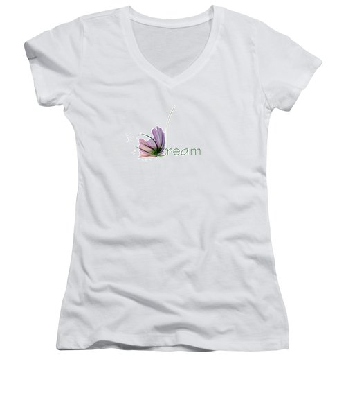 Women's V-Neck T-Shirt (Junior Cut) featuring the digital art Dream by Ann Lauwers