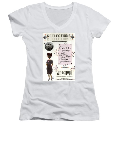 Women's V-Neck T-Shirt (Junior Cut) featuring the mixed media Dream For Tomorrow by Angela L Walker