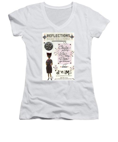 Dream For Tomorrow Women's V-Neck T-Shirt (Junior Cut) by Angela L Walker