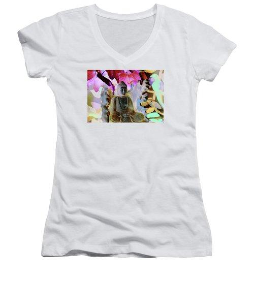 Dream Of Peace Come True Women's V-Neck T-Shirt (Junior Cut) by Amara Dacer