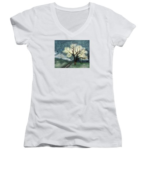 Women's V-Neck T-Shirt (Junior Cut) featuring the painting Dream Tree by Annette Berglund