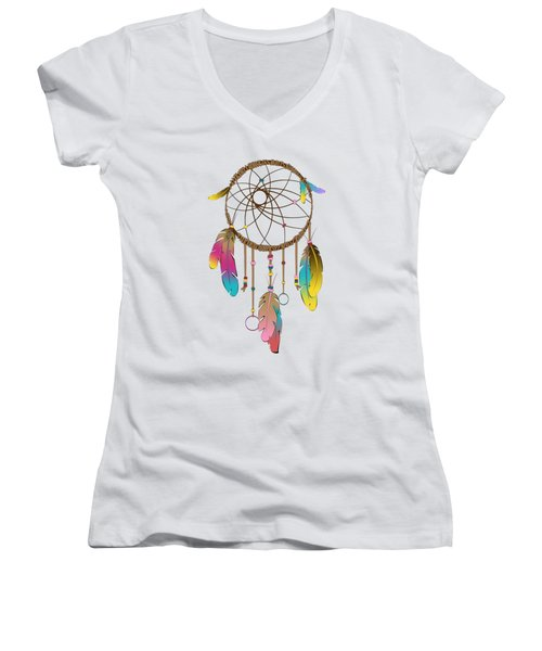 Dreamcatcher Rainbow Women's V-Neck T-Shirt (Junior Cut) by Vanessa-May Dolphin