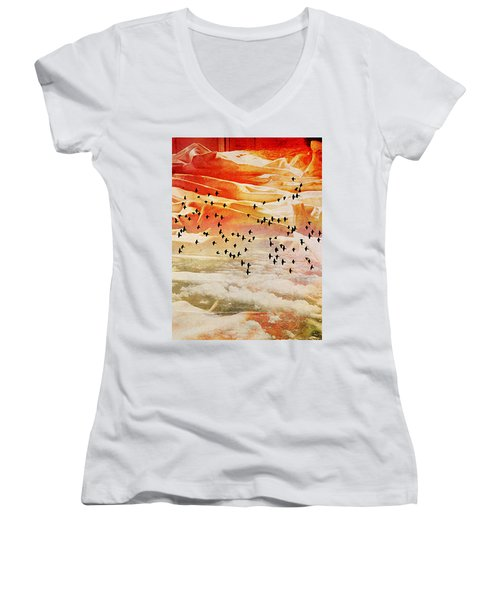 Dreaming Between The Sheets Women's V-Neck T-Shirt (Junior Cut) by Ann Tracy