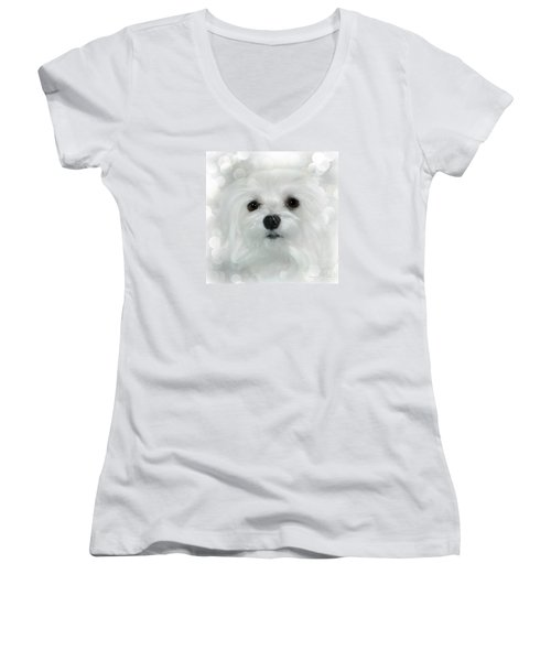 Dreams In White Women's V-Neck T-Shirt (Junior Cut) by Morag Bates