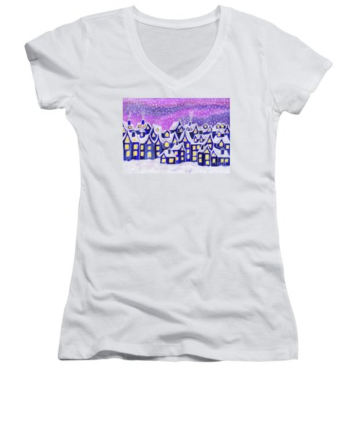 Dreamstown Blue, Painting Women's V-Neck T-Shirt