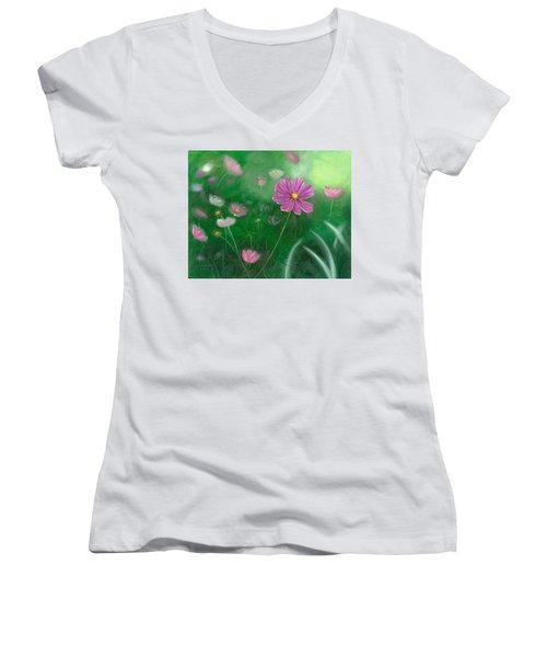 Cosmos Flowers Women's V-Neck