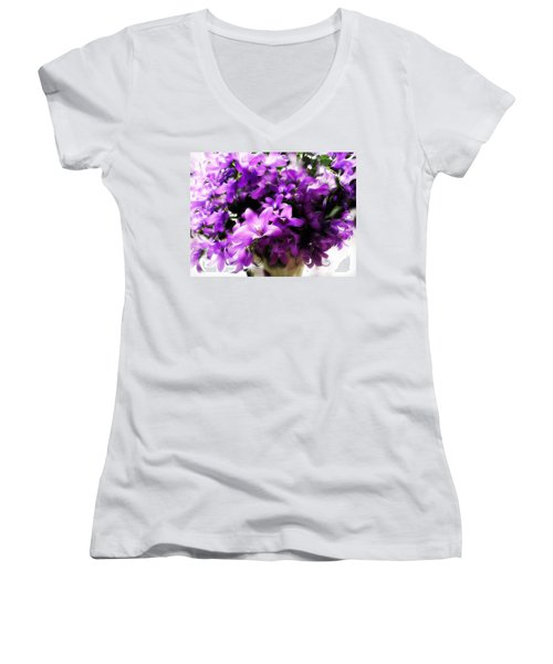 Women's V-Neck T-Shirt (Junior Cut) featuring the mixed media Dreamy Flowers by Gabriella Weninger - David