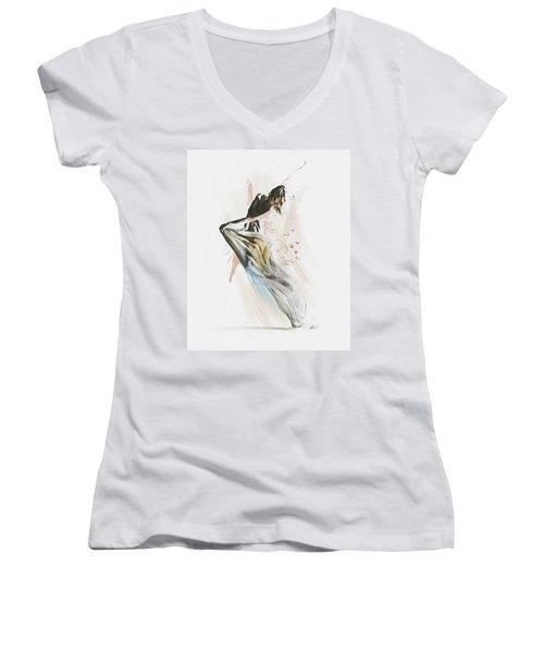 Women's V-Neck T-Shirt (Junior Cut) featuring the digital art Drift Contemporary Dance by Galen Valle