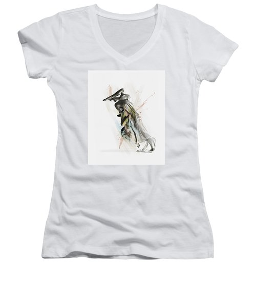Women's V-Neck T-Shirt (Junior Cut) featuring the digital art Drift Contemporary Dance Two by Galen Valle
