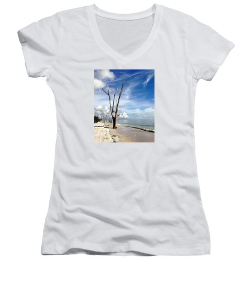 Women's V-Neck T-Shirt (Junior Cut) featuring the photograph Driftwood At Lovers Key State Park by Janet King
