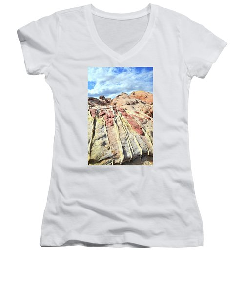 Dripping Color In Valley Of Fire Women's V-Neck T-Shirt (Junior Cut) by Ray Mathis