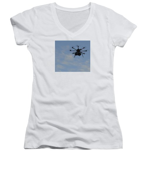 Drone Women's V-Neck T-Shirt (Junior Cut) by Linda Geiger