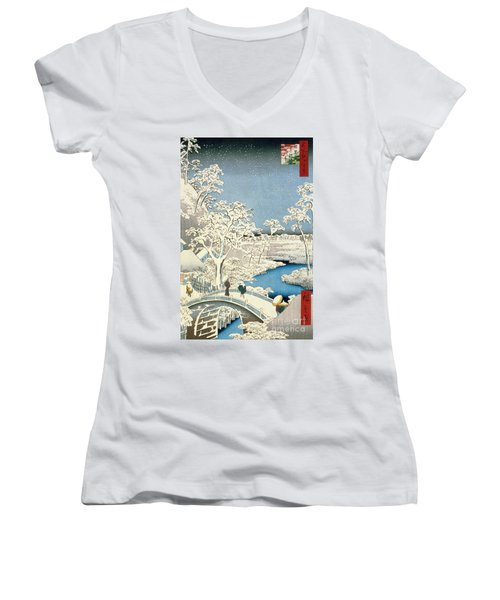 Drum Bridge And Setting Sun Hill At Meguro Women's V-Neck (Athletic Fit)