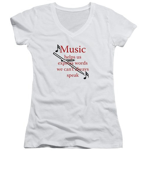 Drum Music Helps Us Express Words Women's V-Neck