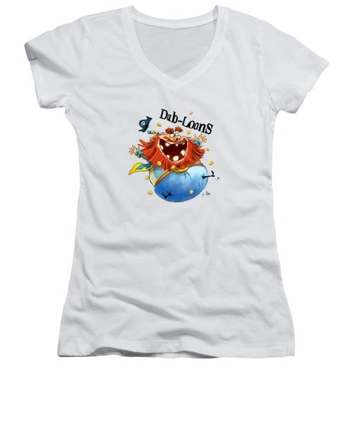 Dub-loons Women's V-Neck T-Shirt (Junior Cut) by Andy Catling
