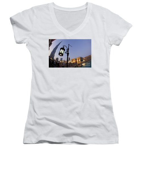 Women's V-Neck featuring the photograph Dubai Burj Khalifa by Juergen Held