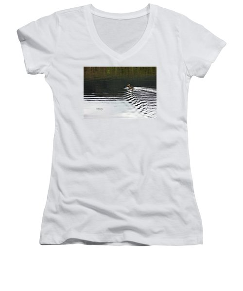 Duck On Ripple Wake Women's V-Neck