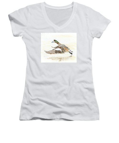 Duck Taking Off. Women's V-Neck T-Shirt (Junior Cut) by Raffaella Lunelli
