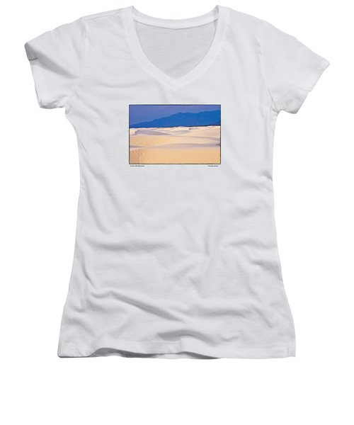 Dunes With Mountains Women's V-Neck T-Shirt (Junior Cut) by R Thomas Berner