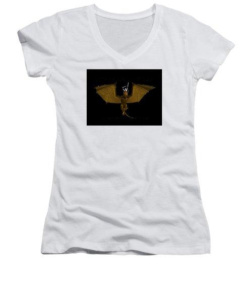 Dunjon T-shirt Print 2 White Women's V-Neck T-Shirt (Junior Cut)