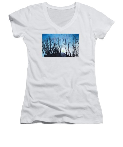 Women's V-Neck T-Shirt (Junior Cut) featuring the painting Durfee Street Chapel by Jane Autry