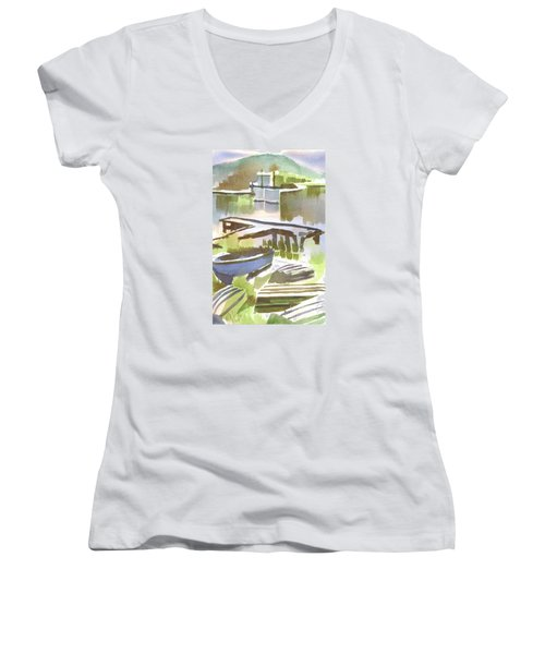 Women's V-Neck T-Shirt (Junior Cut) featuring the painting Dusk At The Boat Dock by Kip DeVore
