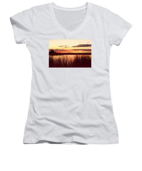 dusk on Lake Superior Women's V-Neck
