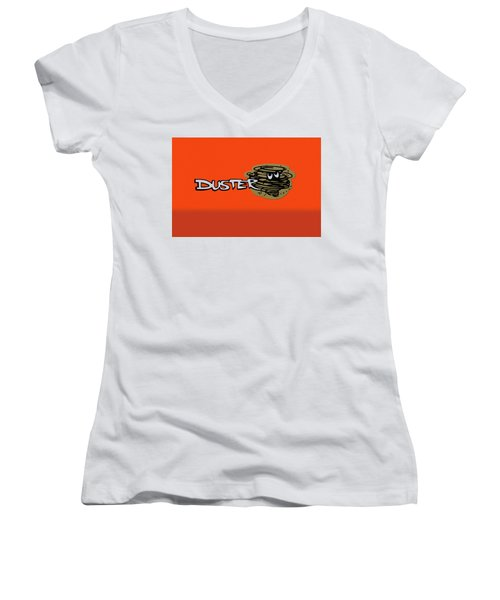 Women's V-Neck T-Shirt (Junior Cut) featuring the photograph Duster Emblem by Mike McGlothlen